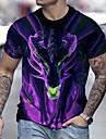Men\'s Tee T shirt Shirt 3D Print Dragon Graphic Prints Print Short Sleeve Daily Tops Casual Designer Big and Tall Purple