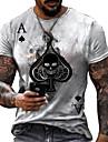 Herren Tee T-Shirt Hemd 3D-Druck Grafik-Drucke Totenkopf Motiv Poker Druck Kurzarm Alltag Oberteile Freizeit Designer Gross und hoch Rundhalsausschnitt Golden Sahne Hellbraun / Sommer