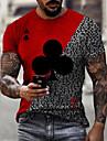 Hombre Tee Camiseta Camisa Impresion 3D Estampados Poker Estampado Manga Corta Diario Tops Casual De Diseno Grande y alto Escote Redondo Amarillo Claro Rojo / Blanco Azul Piscina / Verano