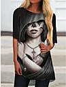 Per donna Abito a T shirt Mini abito corto Nero Mezza manica Astratto Con stampe Primavera Estate Rotonda Casuale Per eventi 2021 S M L XL XXL 3XL