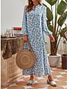 Women\'s Swing Dress Maxi long Dress Light Blue Long Sleeve Print Spring Summer Casual Loose 2021 S M L XL XXL
