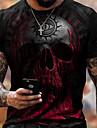 Hombre Tee Camiseta Camisa Impresion 3D Grafico Craneos Tallas Grandes Manga Corta Casual Tops Basico De Diseno Corte Slim Grande y alto Rojo Negro Verde Trebol