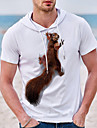 Men\'s Unisex Tee T shirt Shirt Hot Stamping Graphic Prints Squirrel Plus Size Short Sleeve Casual Tops Cotton Basic Designer Big and Tall White