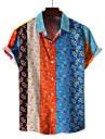 Men\'s Shirt Geometry Plus Size Print Short Sleeve Vacation Tops Slim Fit A
