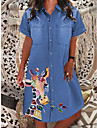 Women\'s Denim Dress Knee Length Dress Light Blue Brilliant blue Dark Grey Short Sleeve Pattern Spring Summer Casual 2021 S M L XL XXL