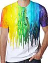 Pánské Trička Tričko Košile 3D tisk Duhová Grafika Mix barev Větší velikosti Tisk Krátký rukáv Denní Topy Aktivní Kulatý Bílá / Sport