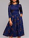 Women\'s Swing Dress Knee Length Dress Navy Blue 3/4 Length Sleeve Geometric Spring Summer Round Neck Boho Slim S M L XL XXL