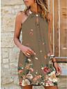 Women\'s Strap Dress Short Mini Dress Blue Khaki Sleeveless Floral Print Summer Halter Neck Casual Holiday 2021 S M L XL XXL 3XL