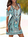 Women\'s A Line Dress Short Mini Dress Blue Green Rose Red Short Sleeve Pattern Print Spring Summer Round Neck cold shoulder Casual 2021 S M L XL XXL 3XL / Holiday / Beach