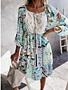 Women\'s Swing Dress Knee Length Dress Blushing Pink Green Apricot 3/4 Length Sleeve Print Spring Summer Casual 2021 S M L XL 2XL