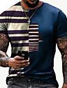 Herren Tee T-Shirt 3D-Druck Gestreift Grafik-Drucke Druck Kurzarm Alltag Oberteile Freizeit Designer Gross und hoch Rundhalsausschnitt Blau Schwarz Rote / Sommer
