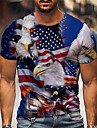 Men\'s Tee T shirt Shirt 3D Print Graphic Prints Eagle American Flag Independence Day Plus Size Print Short Sleeve Daily Tops Casual Designer Big and Tall Blue / Summer