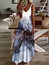 Women\'s A Line Dress Maxi long Dress Purple White Light Green Sleeveless Print Color Gradient Print Spring Summer V Neck Casual Holiday 2021 S M L XL XXL 3XL