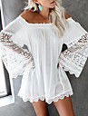 Women\'s A Line Dress Short Mini Dress White Long Sleeve Solid Color Embroidered Smocked Lace Spring Summer Off Shoulder Casual Holiday 2021 S M L XL