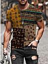 Men\'s T shirt Shirt Other Prints Tribal Graphic Prints Totem Print Short Sleeve Street Tops Basic Casual Round Neck A B C / Summer