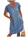 Női Váltó ruha Térdig érő ruha Rövid ujjú Tömör szín Zseb Tavasz Nyár Terített nyak Alkalmi Klasszikus Bő 2021 S M L XL 2XL 3 XL 4 XL 5 XL