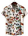 男性用 シャツ その他のプリント ジオメトリ プラスサイズ プリント 半袖 バケーション トップの スリムフィット B