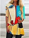 Per donna Abito a T shirt Mini abito corto Verde Mezza manica Monocolore Astratto Con stampe Autunno Estate Rotonda Casuale Per eventi 2021 S M L XL XXL 3XL