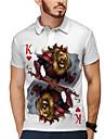 Pánské Golfová košile Tenisové tričko 3D tisk Lev Poker Tlačítko dolů Krátký rukáv ulice Topy Na běžné nošení Módní Chladný Bílá / Sport