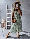 Women\'s A Line Dress Knee Length Dress Blue Blushing Pink Green Black Short Sleeve Floral Lace up Print Spring Summer V Neck Stylish Casual Holiday 2021 S M L XL 2XL