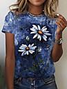Dámské Květinový motiv Abstraktní Obraz Tričko Květinový Batikované Sedmikráska Tisk Kulatý Základní Topy Vodní modrá
