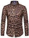 Men\'s Shirt Other Prints Leopard Cheetah Print Print Long Sleeve Street Tops Casual Fashion Streetwear Cool Gray Brown