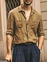 Męskie Koszula Jednokolorowe Przycisk w dół Długi rękaw Codzienny Najfatalniejszy Bawełna Lekki Codzienny Moda Oddychający Brązowy