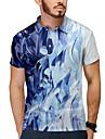 Men\'s Golf Shirt Tennis Shirt 3D Print Abstract Button-Down Short Sleeve Casual Tops Casual Fashion Breathable Blue / Sports