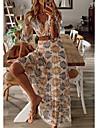 Women\'s A Line Dress Maxi long Dress Yellow Half Sleeve Tropical Leaf Plants Botanical Trees / Leaves Ruched Spring Summer V Neck Ethnic Style Elegant Boho Holiday Beach Retro S M L XL XXL 3XL