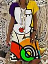 Women\'s T Shirt Dress Tee Dress Knee Length Dress Yellow Short Sleeve Print Color Block Abstract Print Spring Summer V Neck Casual Holiday 2021 S M L XL XXL 3XL