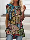 Női Szabadság Absztrakt Geometriai Festmény Póló Grafika Látvány Mértani Nyomtatott Kerek Alap Felsők Medence Sárga Khakizöld