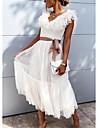 Γυναικεία Φόρεμα ριχτό από τη μέση και κάτω Μίντι φόρεμα Ανθισμένο Ροζ Λευκό Κοντομάνικο Συμπαγές Χρώμα Σουρωτά Πλισέ Δαντέλα Φθινόπωρο Άνοιξη Λαιμόκοψη V Καθημερινό Πάρτι Αργίες Φουσκωτό Μανίκι 2021