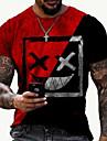 Herren Tee T-Shirt Hemd 3D-Druck Grafik-Drucke Grimasse Druck Kurzarm Alltag Oberteile Freizeit Designer Gross und hoch Rundhalsausschnitt Schwarz / Rot Schwarzgrau Blau / Sommer