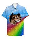 男性用 シャツ 3Dプリント 虹色 猫 動物 プラスサイズ 3Dプリント ボタンダウン 半袖 カジュアル トップの カジュアル ファッション 高通気性 快適 ブルー / スポーツ