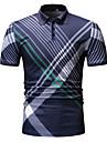 Miesten Golfpaita T-paita Raidoitettu Painike alas Lyhythihainen Katu Topit Puuvilla Liiketoiminta Vapaa-aika Mukava Musta Laivaston sininen