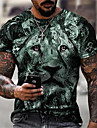 Men\'s Tee T shirt Shirt 3D Print Graphic Lion Plus Size Short Sleeve Casual Tops Basic Designer Slim Fit Big and Tall Purple Gold Green / Summer
