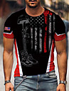 Men\'s Tee T shirt Shirt 3D Print Graphic Skull American Flag Independence Day Plus Size Print Short Sleeve Party Tops Exaggerated Round Neck Blue Red Rainbow