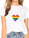 Dámské Obraz Tričko Duhová Srdce Tisk Kulatý Základní Pýcha LGBT Topy Bílá