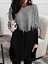 Per donna Abito a T shirt Mini abito corto Blu Grigio Manica lunga Monocolore Con stampe Autunno Primavera A V Casuale Largo 2021 S M L XL XXL 3XL