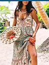 여성용 스트랩 드레스 맥시 드레스 A 민소매 플로럴 무늬 스플리트 프린트 봄 여름 V 넥 휴일 보호 비치 2021 S M L XL XXL