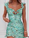 Women\'s A Line Dress Short Mini Dress Green Red Navy Blue Sleeveless Floral Print Summer Casual Sexy 2021 S M L XL