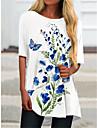 Dames T shirt jurk Mini-jurk Wit Halve mouw Afdrukken Vlinder Opdruk Lente Zomer Ronde hals Informeel Feestdagen 2021 S M L XL XXL 3XL