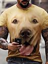 Herren Tee T-Shirt Hemd 3D-Druck Katze Hund Grafik UEbergroessen Kurzarm Normal Oberteile Grundlegend Designer Schmaler Schnitt Gross und hoch Gelb Grau