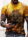 Herren Tee T-Shirt Hemd 3D-Druck Grafik-Drucke Buchstabe Druck Kurzarm Alltag Oberteile Freizeit Designer Gross und hoch Rundhalsausschnitt Blau Grau Gold / Sommer