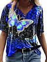 Dámské Tričko Motýl Tisk Do V Základní Topy Vodní modrá Fialová Žlutá