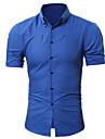 Hombre Camisa no imprimible Color solido Tallas Grandes Manga Corta Casual Tops Sencillo Ligeras Comodo Vino Azul polvoriento Azul Real