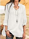 여성용 블라우스 셔츠 플레인 V 넥 베이직 스트리트 쉬크 탑스 루즈핏 퍼플 그레이 클로버