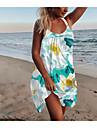 Women\'s A Line Dress Short Mini Dress Blue Gold White Black Sleeveless Floral Print Spring Summer Halter Neck Elegant Casual Holiday 2021 M L XL XXL 3XL