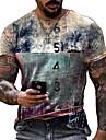 Herren Unisex Tee T-Shirt Hemd 3D-Druck Karikatur Grafik-Drucke Zahl Buchstabe Druck Kurzarm Alltag Oberteile Freizeit Designer Gross und hoch Rundhalsausschnitt Blau Gelb Grau / Sommer