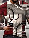 Hombre Tee Camiseta Camisa Impresion 3D Geometrico 3D Estampados Estampado Manga Corta Diario Tops Casual De Diseno Grande y alto Escote Redondo Azul Piscina Rojo Negro / Verano